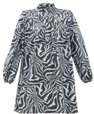 Ganni Zebra-print Pintucked Cotton Smock Dress - Blue Multi