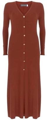 Mint Velvet Rust V-Neck Midi Jumper Dress