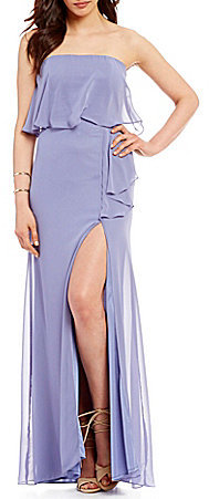 GB Social Strapless Cascading Ruffle Popover Gown