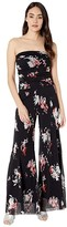 Fuzzi Strapless Printed Jumpsuit (Black) Women's Jumpsuit & Rompers One Piece