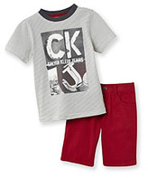 Calvin Klein Jeans Boys' 2T-7 Grey/Red 2-pc. Ringer Tee and Shorts Set