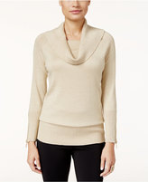 Thalia Sodi Zipper-Embellished Cowl-Neck Sweater, Only at Macy's