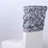 BBCrafts 16 Inch x 14 Inch Rosette Satin Chair Top Covers (Silver)