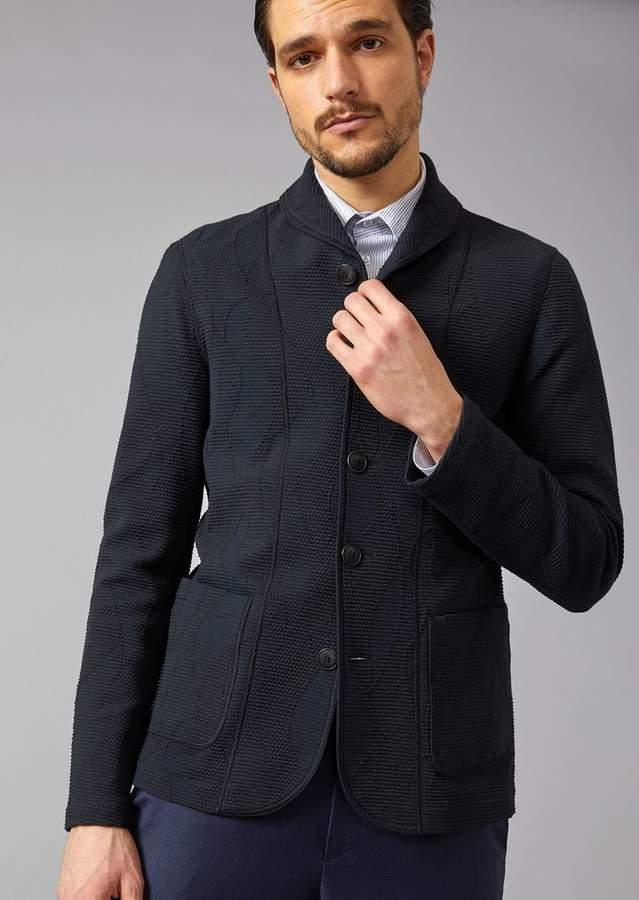 Giorgio Armani Jacket In Chevron Jacquard Fabric