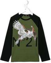 No21 Kids - eagle logo print top - kids - Cotton/Spandex/Elastane - 4 yrs