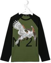 No21 Kids eagle logo print top