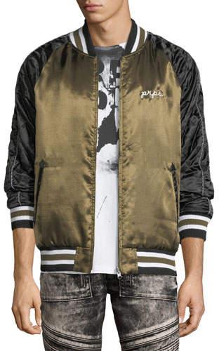 PRPS Embroidered Satin Souvenir Bomber Jacket