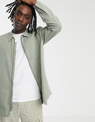 Weekday denim full zip shirt in khaki-Green