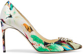 Brian Atwood Janne printed satin pumps