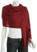red cashmere 'Bassica' fringe wrap scarf
