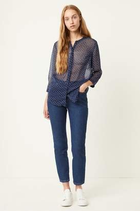 French Connection Polka Dot Crinkle Collarless Blouse