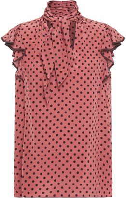 Zimmermann Tie-neck Ruffle-trimmed Polka-dot Silk Crepe De Chine Top