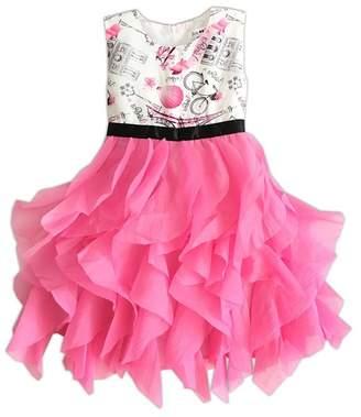 Joe Ella Riley Cascading Organza Damask Bodice Dress (Little Girls & Big Girls)
