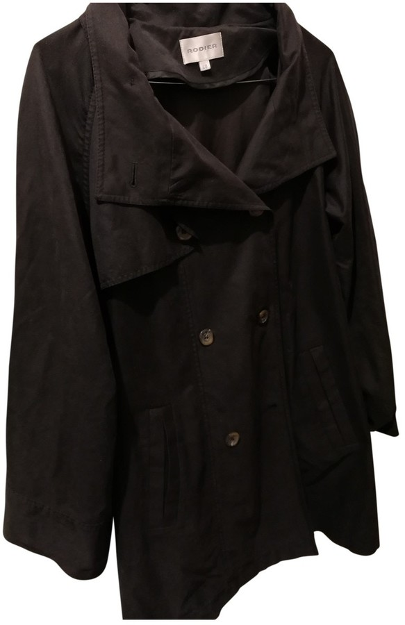 Rodier Black Cotton Trench Coat for Women