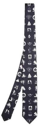 Prada Yacht Print Silk Twill Tie - Mens - Dark Blue