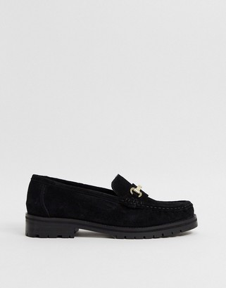 ASOS DESIGN Motivate suede chunky loafers in black