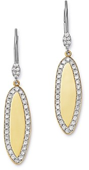 Meira T 14K Yellow & White Gold Diamond Oblong Disc Drop Earrings