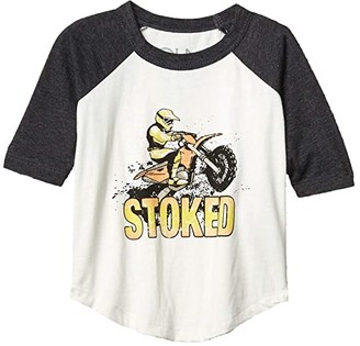 Chaser Stoked Vintage Jersey 3/4 Sleeve Raglan Baseball Tee (Toddler/Little Kids) (Salt/Black) Boy's Clothing