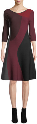 Nic+Zoe Round-Neck 3/4-Sleeve Colorblock Twirl Dress