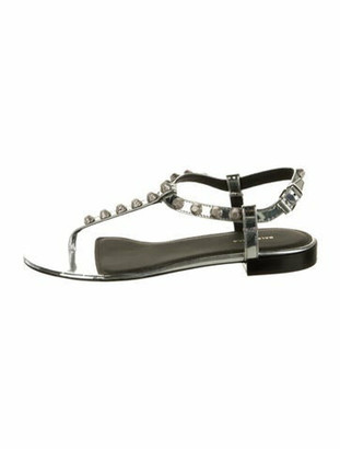 Balenciaga Mirror Leather T-Strap Sandals w/ Tags Silver