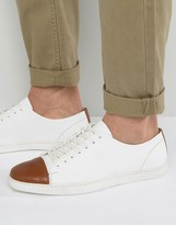 Dune Tate Lo Sneakers In White Leather