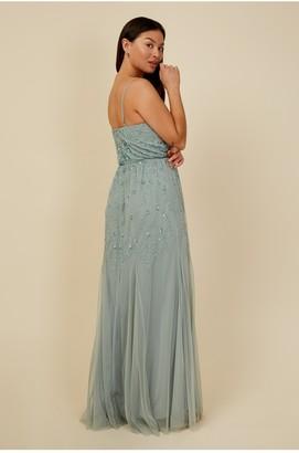 Little Mistress Bridesmaid Ayla Waterlily Embellished Ruffle Mesh Maxi Dress