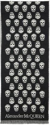 Alexander McQueen Reversible Skull Wool Scarf