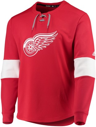 adidas Men's Red Detroit Red Wings Platinum Long Sleeve Jersey T-Shirt