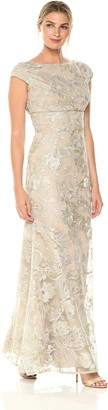 JS Collections Women's Cap Sleeve Gold Lace Dress 14