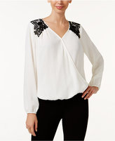 Thalia Sodi Lace-Shoulder Surplice Blouse, Only at Macy's