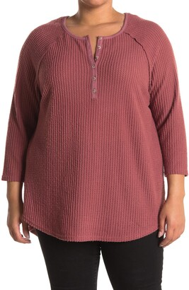 MelloDay Brushed Waffle Knit Henley Top