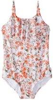Seafolly Toddler Girl's Wild Poppy Ruffle Tank One Piece Swimsuit (2T7) - 8158933