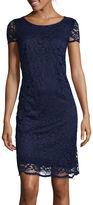 Donna Ricco Short-Sleeve Lace Shift Dress