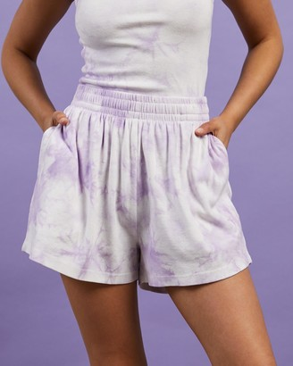 Dazie - Women's Purple High-Waisted - Turn Back Tie Dye Shorts - Size 6 at The Iconic