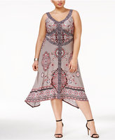 INC International Concepts Plus Size Printed Handkerchief-Hem A-Line Dress, Only at Macy's