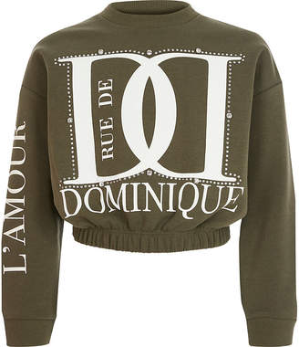 River Island Girls khaki printed diamante sweatshirt