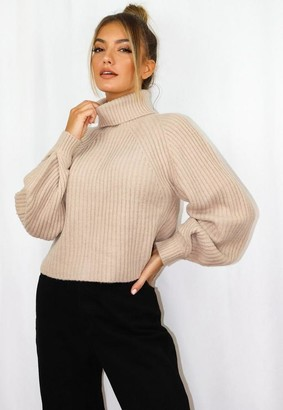 Missguided Stone Turtle Neck Tuck Sleeve Cropped Knit Sweater