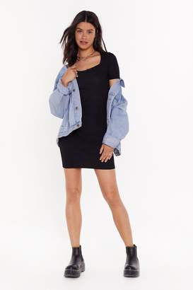 Nasty Gal Womens Cut-Out the Drama Ribbed Mini Dress - black - 6