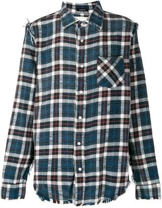 R 13 distressed hem plaid shirt