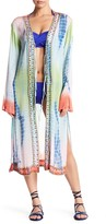 Letarte Long Sheer Tie-Dye Bead Detail Silk Jacket
