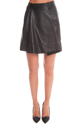 3.1 Phillip Lim Rounded Fold Leather Skirt