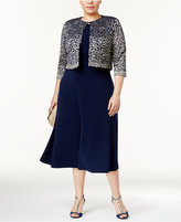 Jessica Howard Plus Size Midi Dress and Lace Jacket