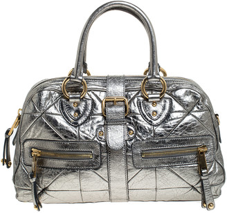 Marc Jacobs Grey Metallic Leather Double Zip Pocket Satchel