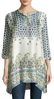 Johnny Was Simon Handkerchief-Hem Printed Silk Tunic, Multi