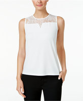 Nine West Lace-Trim Illusion Top
