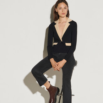 Sandro Cropped cardigan with contrasting collar