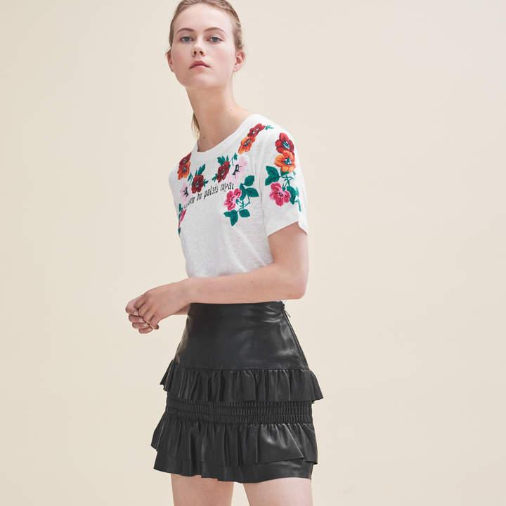 Maje Flounced leather skirt