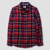 Cat & Jack Boys' Long Sleeve Button Down Flannel Shirt Cat & Jack - Red