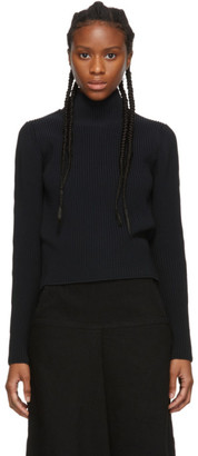 Tibi Black Cropped Tech Two-Way Sweater