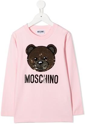MOSCHINO BAMBINO sequin Teddy Bear T-shirt